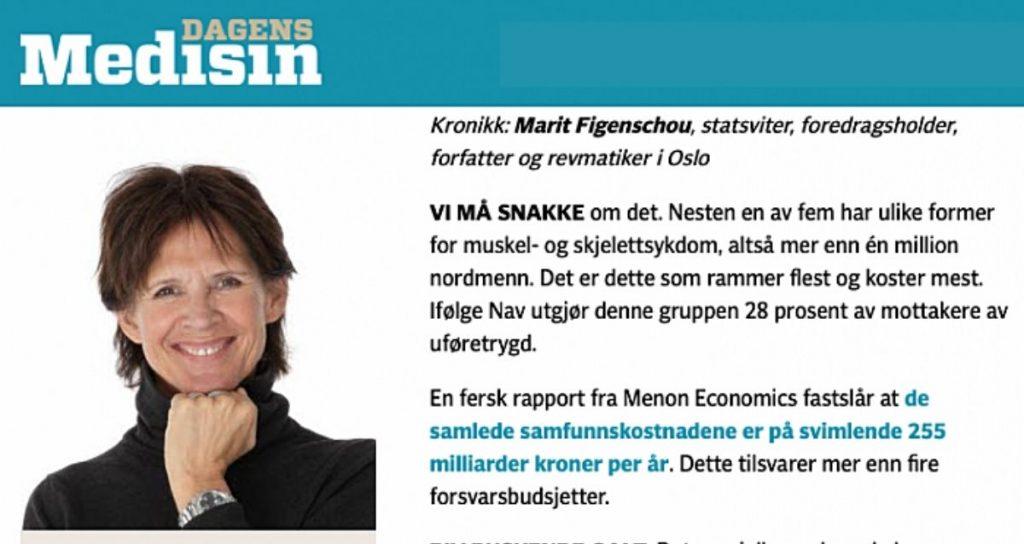 Dyrt stress, kronikk i Dagens medisin med Marit Figenschou