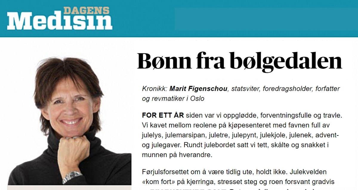 Bønn fra bølgedalen, kronikk av Marit Figenschou i Dagens Medisin
